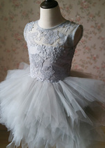 Gray Flower Girl Dress Gray Tulle/Lace Knee-Length Girl's Princess Dress NWT image 4