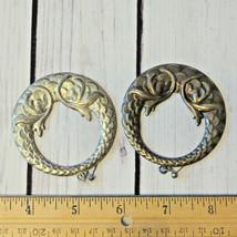 vintage large silver tone hoop earrings oversize round ornate - $7.91