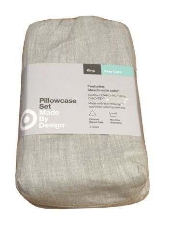 Made By Design Solid Easy Care Pillowcase Set (King) Light GRAY  NEW!STORE