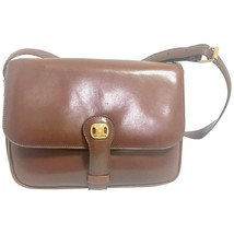 Vintage CELINE genuine brown leather shoulder bag with golden logo motif... - $482.00