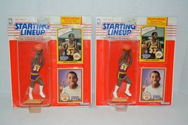 Lot 2 Starting Lineup 1990 Magic Johnson NBA Los Angeles Lakers Action Figures - $23.76