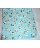 Aqua Blue Zebra Sun Cloud Baby Boy Cotton Flannel Receiving Swaddle Blanket - $32.66