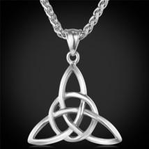 U7 Viking Jewelry Celtic Knots Necklaces & Pendants Triquetra Gold Color Stainle - $20.10