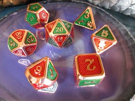 D&D Red + Green on Rose Gold METAL Dice Set + Bag 7 Pcs d20 d12 d10 d8 d... - $26.95