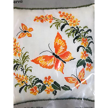 CM Cross Stitch Kit 6862 Pillow Cover ButterFly NEW - $35.00