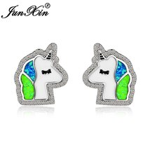 Cute Unicorn Horse Head Stud Earrings For Women 925 Sterling Silver Filled White - $15.67