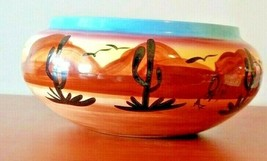 "Southwestern Pottery Planter Bowl Signed  AZ  5"" Tall Hand-painted & Gla... - $48.50"