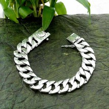 925 Solid Sterling Silver Heavy Thick Curb Chain Bracelet Length 6 To 11... - $186.00