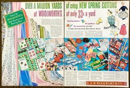 1955 Woolworth's 2pg PRINT AD Over Million Yards of Spring Cottons Sewin... - $12.89