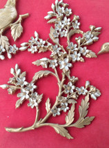 REDUCED! Vintage 1950's Syrocco gold-tone dogwood birds wall hangings - $24.50