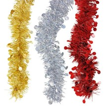 Christmas House Metallic Tinsel Garland, 9-ft. Strand Gold Silver Red  - $2.00