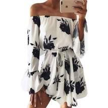 Boho Floral Long Flare Sleeve Women Mini Dress - $30.33