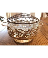 Vintage silver plated and crystal planter / Bud bouquet flower vase - $39.00