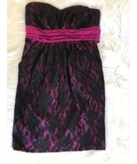 Sequin Hearts Juniors Strapless Party Dance Dress 7 Lace 2 Pockets Black... - $14.84