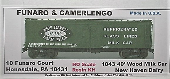 Funaro & Camerlengo HO New Haven Dairy 40' Wood Milk Car Kit 1043
