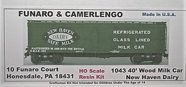 Funaro & Camerlengo HO New Haven Dairy 40' Wood Milk Car Kit 1043 image 1