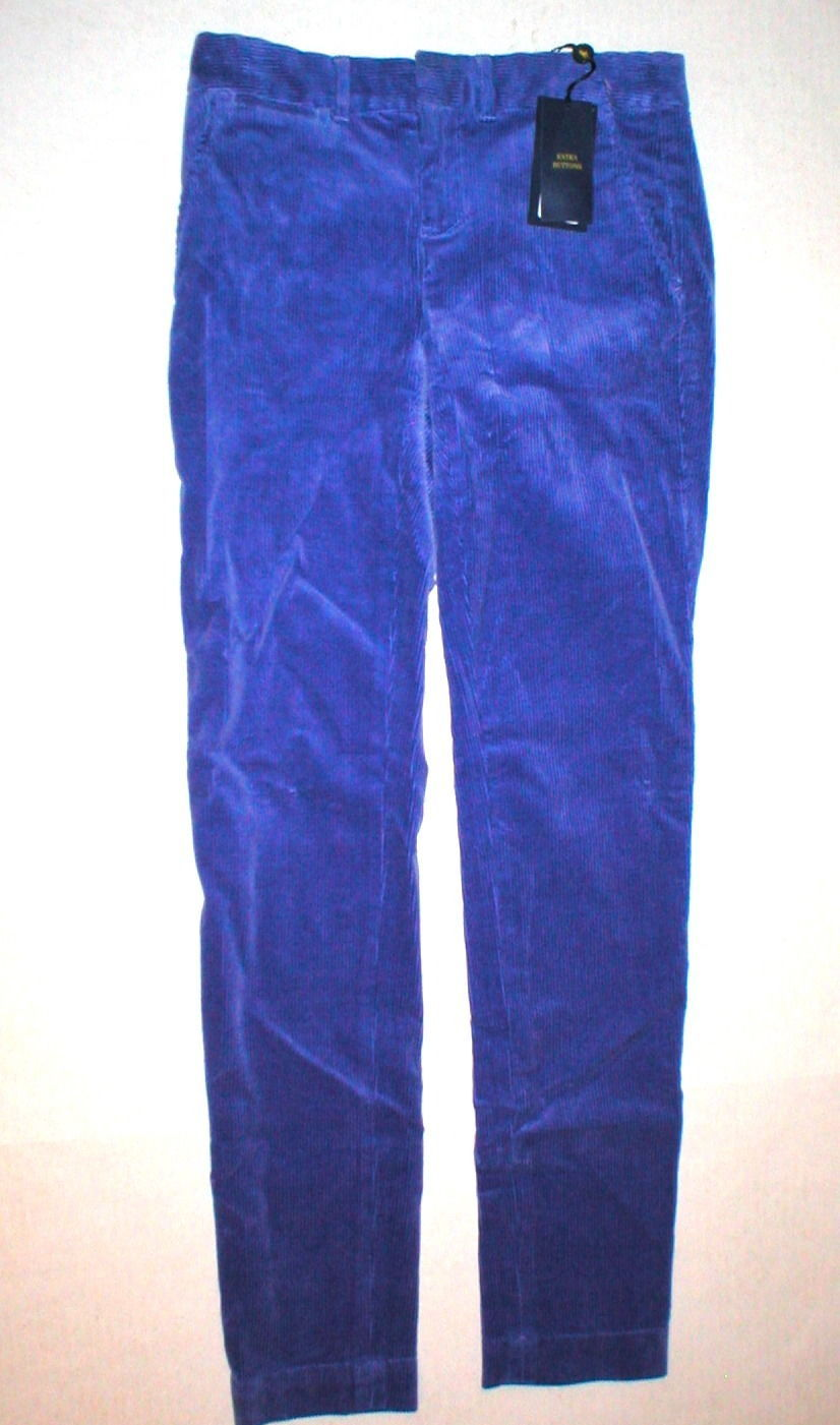 New NWT $145 Ralph Lauren Polo Golf Corduroy Pants Womens Purple 0 Work Office