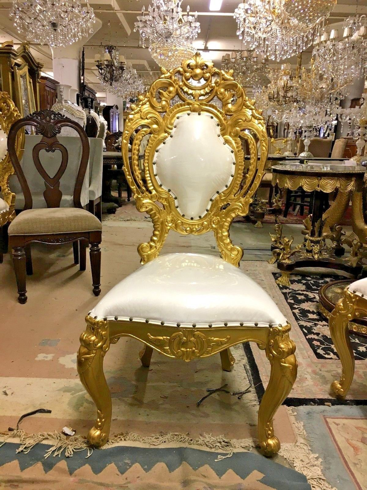 French Style Party Throne Chair - Solid Carved Wood Dining ...