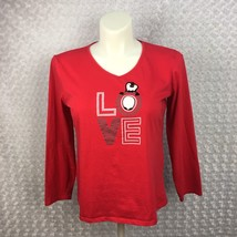 Juniors XL be yourself Brand Red Vneck 3/4 Length Sleeve LOVE Shirt with... - $5.89
