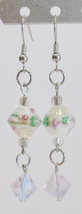 handmade white and pink glass bead dangle earrings - $9.00