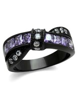 Purple and Clear Crystal Knot Ring Stainless Steel TK316 - $19.00