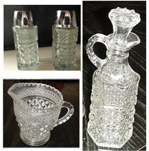 Vintage Glass Wexford Anchor Hocking Creamer Pitcher Cruet Salt & Pepper... - $59.99