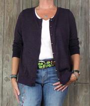 Talbots Cardigan Sweater 1x size Purple Metallic Lightweight Stretch Plu... - $29.70