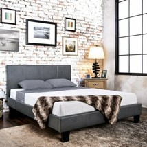 Gray Grey Upholstered Platform Bed Frame Faux Leather Panel Twin Full Qu... - $238.49+