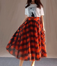 Fall Red Plaid Skirt Outfit Red Plaid Long Tulle Skirt High Waisted Plaid Skirt  image 11