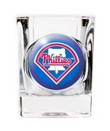 PHILADELPHIA PHILLIES 2 OZ. SQUARE SHOT GLASS DOMED LOGO MLB BASEBALL - $10.36