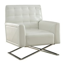 Acme Rafael Accent Chair - 59784 - White Pu & Stainless Steel - $913.19