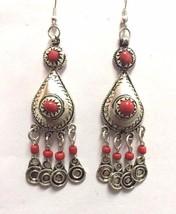 Vintage Moroccan Berber Queen Tribal Metalwork & 2 Red Stones Pendant Ea... - $19.70