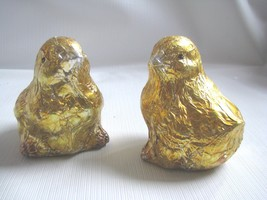 2  Foil Covered Ceramic Yellow Chicks    Bethan... - $9.85