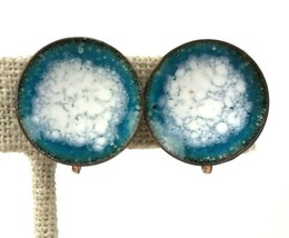 Copper Mod Vintage Earrings Blue White Enamel Disc Geo Screw back - $14.84