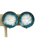 Copper Mod Vintage Earrings Blue White Enamel Disc Geo Screw back - $14.84