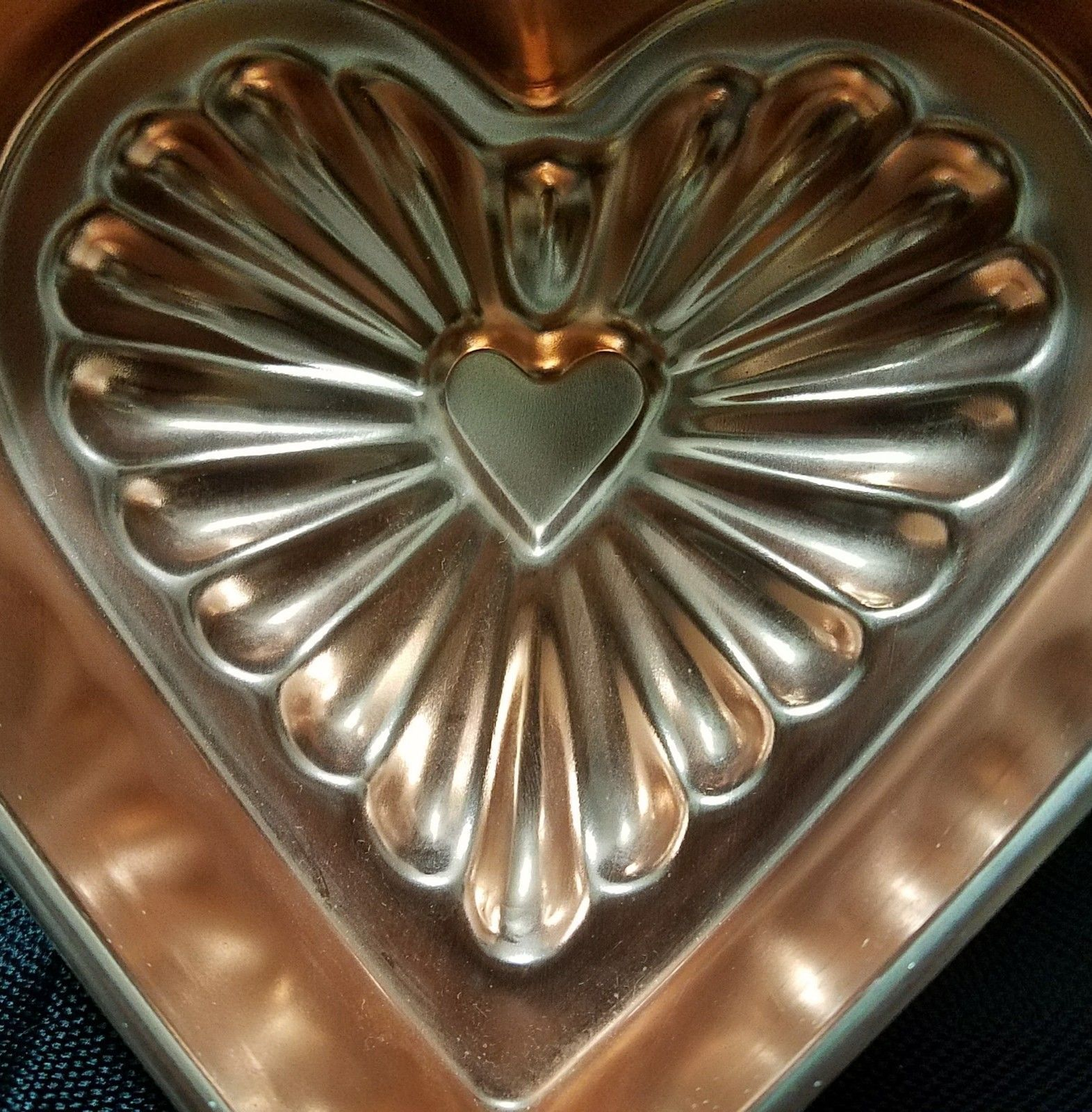 Vintage Copper Mold Heart Shape Ready To Hang