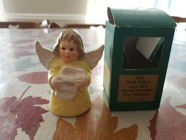 Vintage 1981 West Germany Goebel Angel Bell Ornament yellow Scroll Sheet Music - $11.30