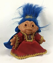 Vintage Queen Ruby Blue Hair Totally Troll Doll TT 2001 Royal Red Gold G... - $29.46