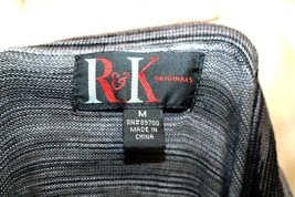 R&K Originals sz M Cowl Neck Sweater Dress Full Skirt Black White Variegated image 2