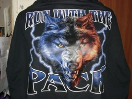 """Men's Motorcycle Biker T-Shirts """"Run With The Pack"""" Wolf Free shipping - $19.99"""
