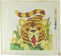 1970's Tiger Red Eyes Red Tongue Hand Painted Needlepoint Lynn Marie 13C... - $29.17