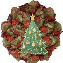 Burlap Christmas Tree Deco Mesh Handmade Wreath - $89.99