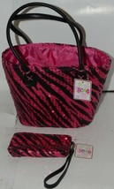 3C4G Three Cheers For Girls Fuchsia Sequin Black Zebra Striped Tote and Wristlet image 1