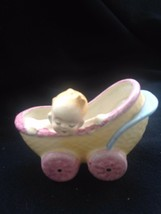 VINTAGE Angelic Baby & Carriage Ceramic Planter Occupied Japan GREAT GIF... - $13.86