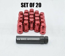 """20pc 1/2-20 Thread Lug Nuts with Key Cone Seat 1.38"""" Closed End Red Stee... - $11.38"""