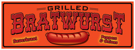 """Bratwurst - 18""""x48"""" Concession Stand Banner  - ₨1,619.99 INR"""