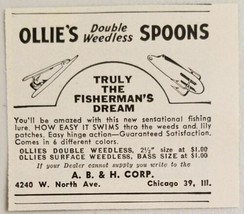 1949 Print Ad Ollie's Double Weedless Spoons Fishing Lures Chicago,IL - $8.11