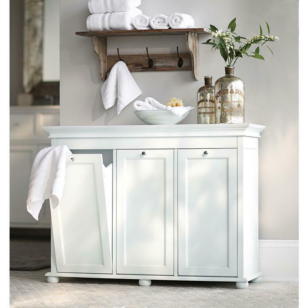 3 Compartment Tilt Out Laundry Hamper White Cabinet Liners