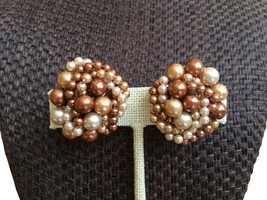 50s Japan Signed Twisted Cluster Vintage Glass Bead Clip On Earrings, Cr... - $17.00