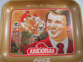 Coca-Cola 1976 Cotton Bowl Commemorative Tray Frank Broyles Razorbacks F... - $14.85